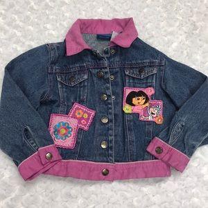 Dora the Explorer Snap Front Jean Jacket sz 4